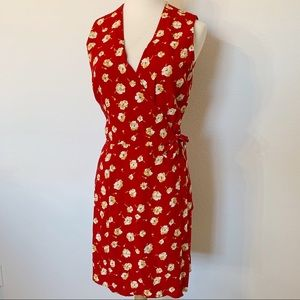 VINTAGE LIMITED Red yellow floral wrap mini dress